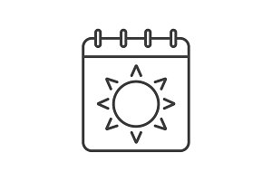 Summer season linear icon