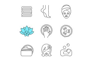 Spa salon linear icons set
