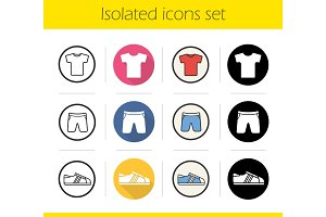 Sport clothes store icons set