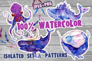 Watercolor patterns.Whale & cristall