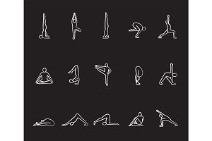 Yoga asanas chalk icons set