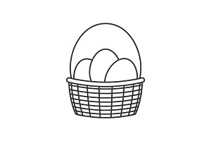 Basket with Easter eggs line icon