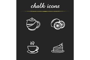 Tea chalk icons set