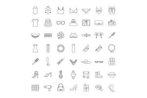 Women accessories linear icons set
