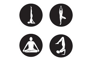 Yoga asanas icons set