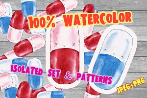 Watercolor pattern with drugs