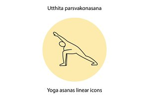 Utthita parsvakonasana yoga position. Linear icon