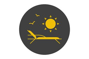 Beach rest glyph color icon