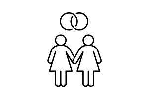 Lesbian marriage linear icon