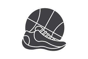 Basketball shoe and ball icon