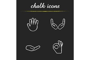 Hand gestures chalk icons set