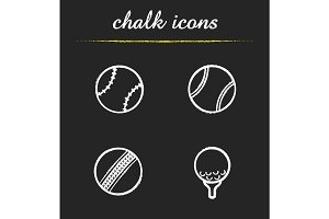 Sport game balls chalk icons set