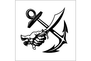 Vector illustration pirate emblem with crossed siber anchor
