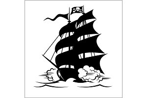 Pirate Ship, galleon, brigantine and cutter under the Jolly Roger black flag, vector illustration