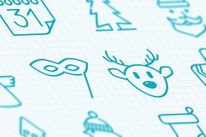16 Christmas holidays icons set