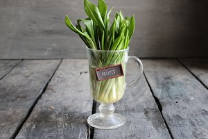 Recipes idea. Wood garlic on vintage table and tag.
