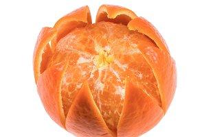 one peeled tangerine isolated on white background