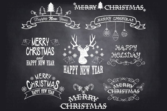 chalkboard christmas clipart illustrations