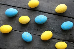 Colorful Easter eggs. Festive decoration.