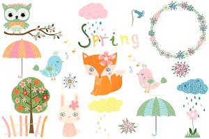 Cute spring clip art set