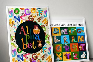 Set of alphabet letters with animals