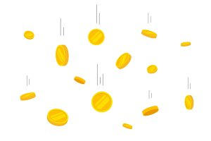 Coins Money Falling Vector