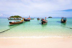 Boats on the beach, Thailand