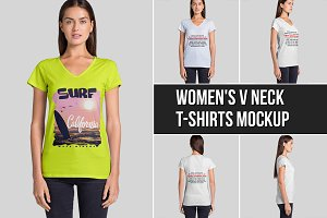 Women's V Neck T-Shirts Mockup