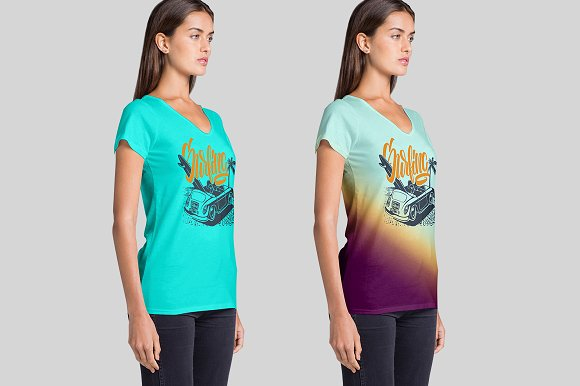 Women's V Neck T-Shirts Mockup in Product Mockups - product preview 2