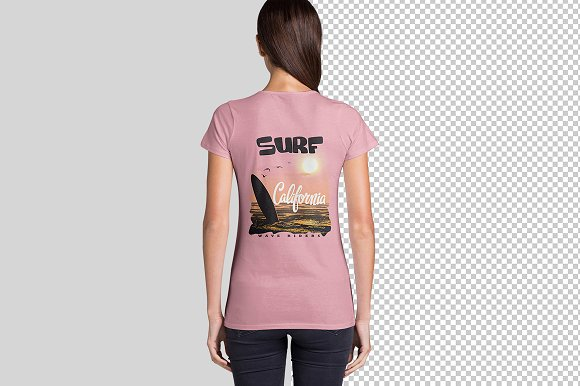 Women's V Neck T-Shirts Mockup in Product Mockups - product preview 3