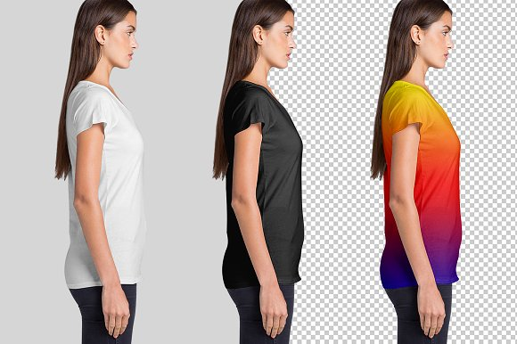 Women's V Neck T-Shirts Mockup in Product Mockups - product preview 4