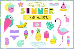 Creative Summer Set Eps+Png+Patterns