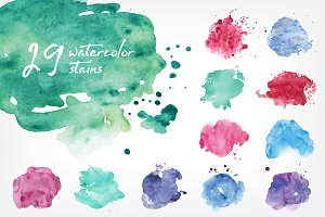 vector watercolor stains bundle