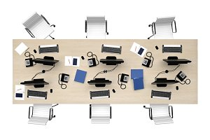 office table group work top view isolated on white 3d rendering