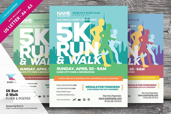 5k run walk flyer and poster flyer templates creative market