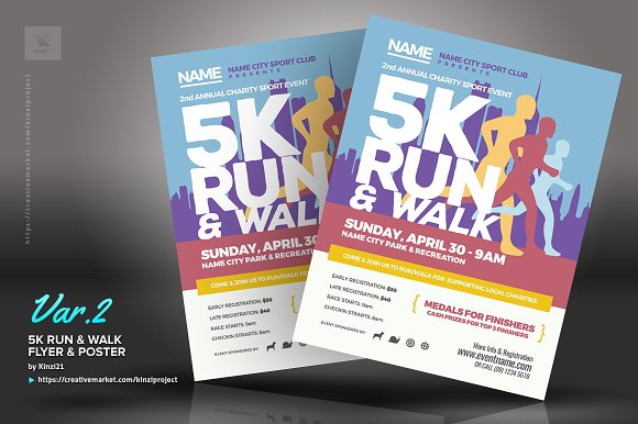 5k run walk flyer and poster flyer templates creative market