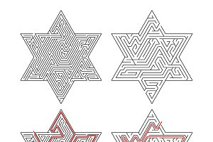 Complicated star-shaped labyrinths