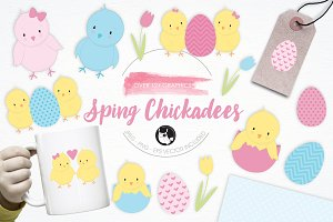 Spring Chickadees illustration pack