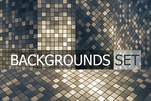Mosaic square pattern background set