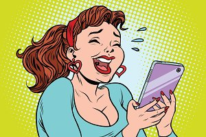 Comic girl laughing to tears reading a smartphone