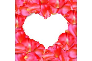 Heart shape of red petals vector