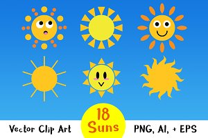 18 Cartoon Suns Graphics