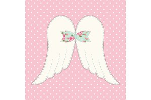 Cute vintage patchwork of angel wings with shabby chic bow