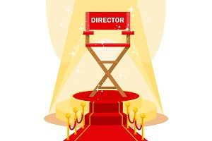 director chair on red carpet