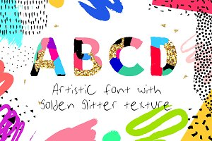 Artistic Alphabet with gold texture