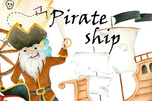 Pirate ship clipart set