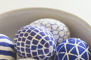 Blue painted easter eggs