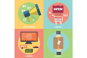 Icons for e-commerce, delivery