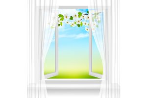 Nature background with open window