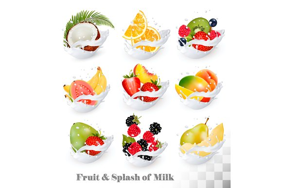 Icons Of Fruit In A Milk Splash